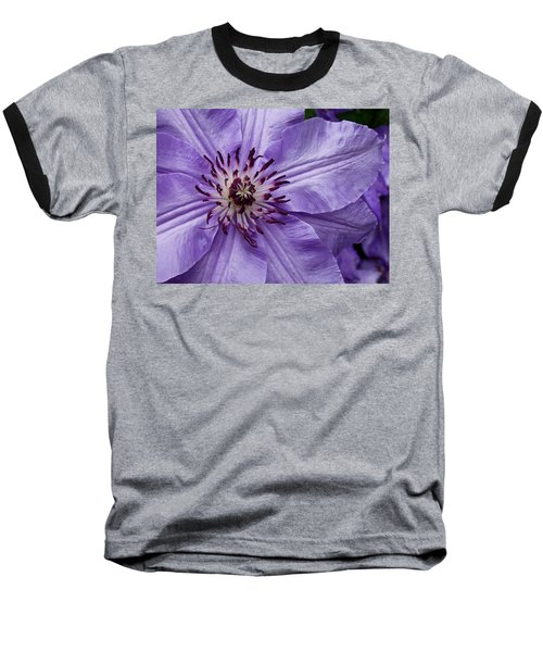 Purple Clematis Blossom Baseball T-Shirt