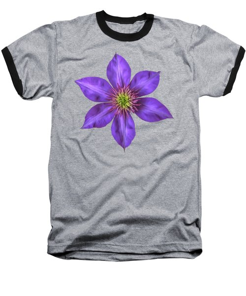 Purple Clematis Flower With Soft Look Effect Baseball T-Shirt