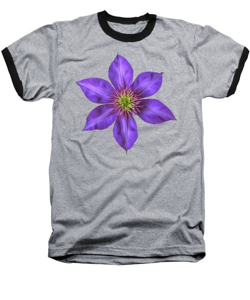 Baseball T-Shirt featuring the photograph Purple Clematis Flower With Soft Look Effect by Rose Santuci-Sofranko