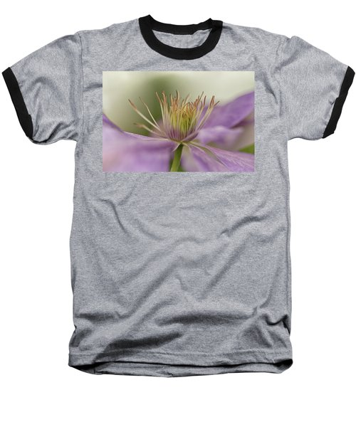 Purple Clematis Macro Baseball T-Shirt by Jacqi Elmslie