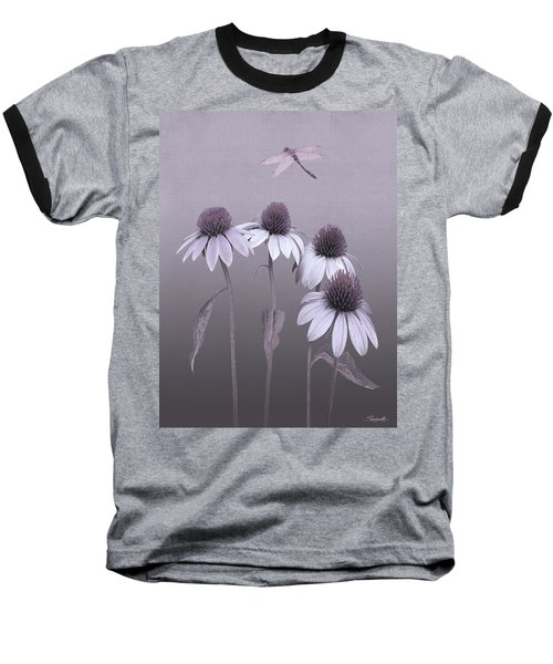Purple Coneflowers And Dragonfly Baseball T-Shirt