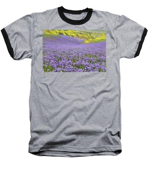 Purple  Covered Hillside Baseball T-Shirt by Marc Crumpler