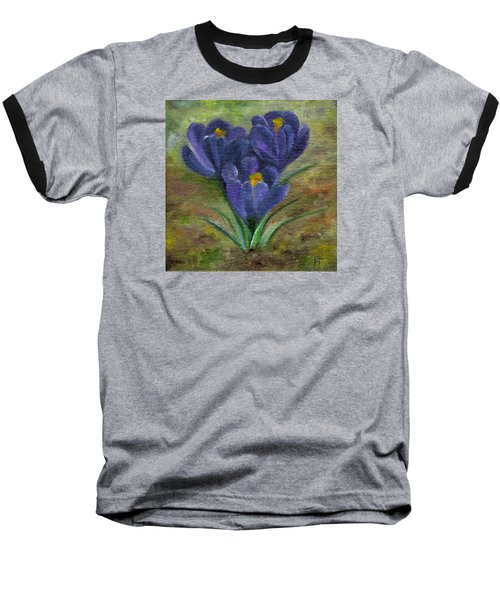 Purple Crocus Baseball T-Shirt