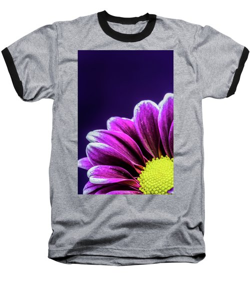 Purple Daisy Being Shy Baseball T-Shirt