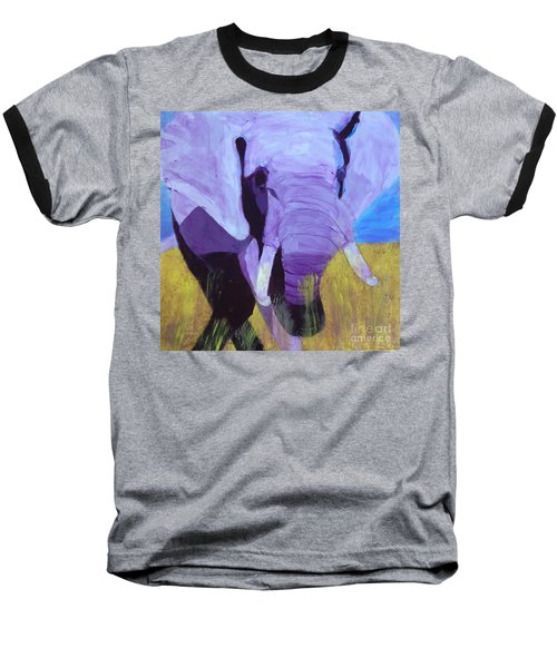Purple Elephant Baseball T-Shirt by Donald J Ryker III