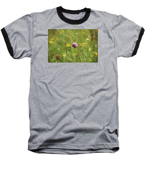 Purple Flower And Bee Baseball T-Shirt
