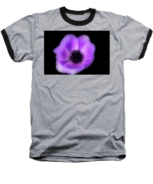 Purple Flower Head Baseball T-Shirt