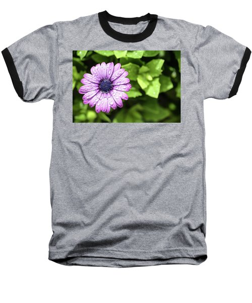 Purple Flower On Green Baseball T-Shirt