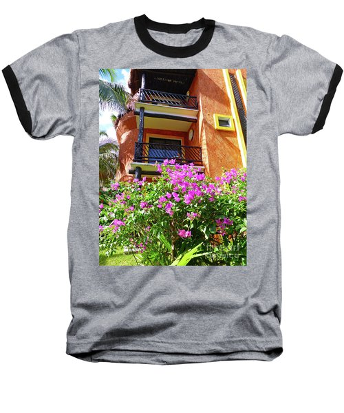 Baseball T-Shirt featuring the photograph Purple Flowers By The Balcony by Francesca Mackenney