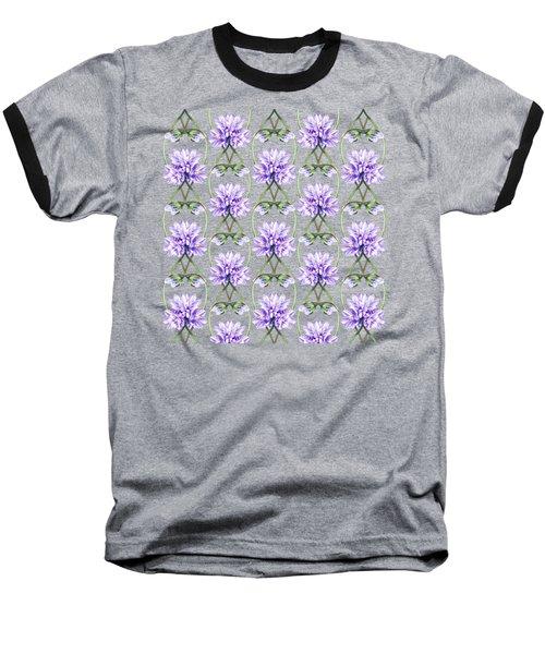 Purple Flowers Hearts Pattern Baseball T-Shirt by Irina Sztukowski