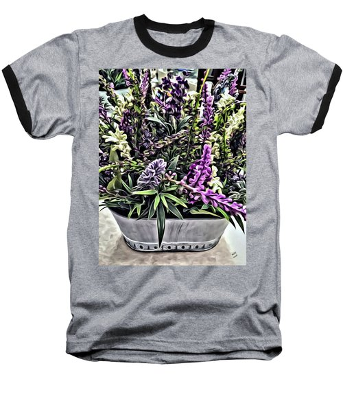 Purple Flowers In Bloom Baseball T-Shirt