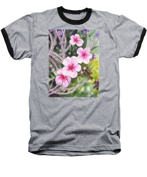 Baseball T-Shirt featuring the painting Purple Flowers In Golden Gate Park San Francisco by Irina Sztukowski