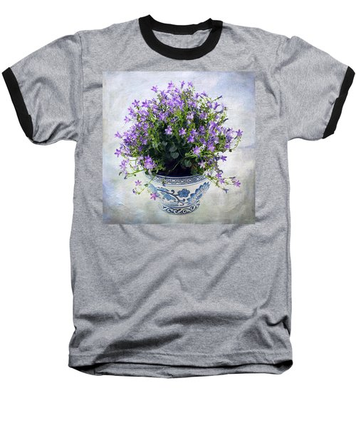 Baseball T-Shirt featuring the photograph Purple Flowers In Pot by Catherine Lau