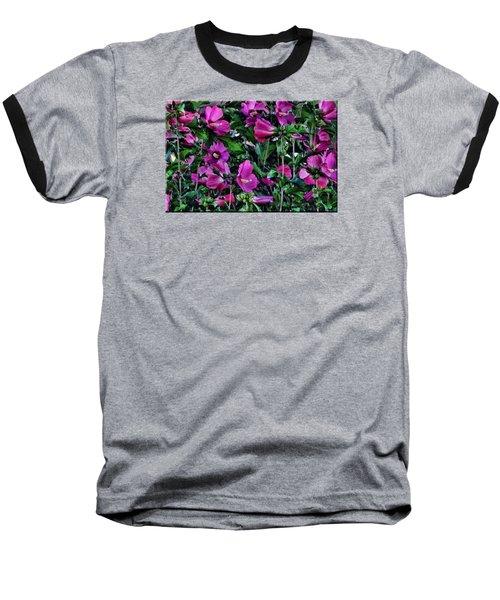 Purple Flowers Baseball T-Shirt by Mikki Cucuzzo