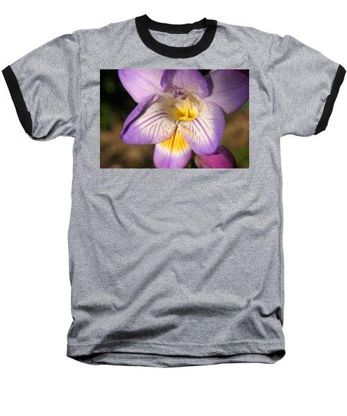 Purple Fresia Flower Baseball T-Shirt by Ralph A  Ledergerber-Photography