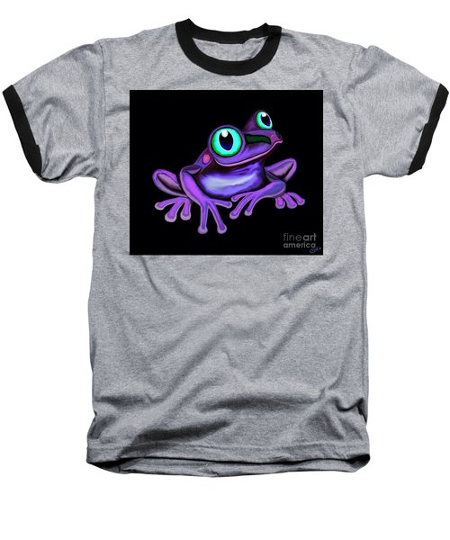 Baseball T-Shirt featuring the painting Purple Frog  by Nick Gustafson