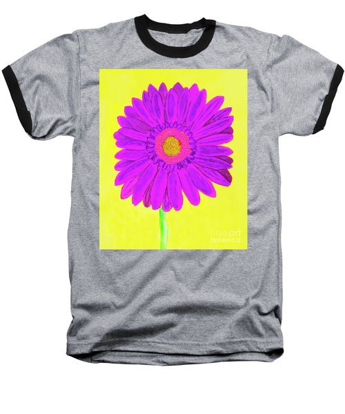 Purple  Gerbera On Yellow, Watercolor Baseball T-Shirt