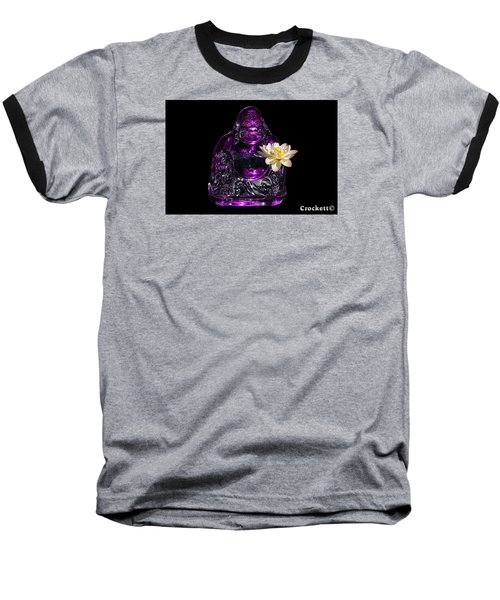 Baseball T-Shirt featuring the photograph Purple Glass Buddah With Yellow Lotus Flower by Gary Crockett