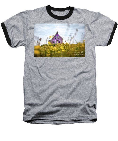Purple House And Yellow Flowers Baseball T-Shirt