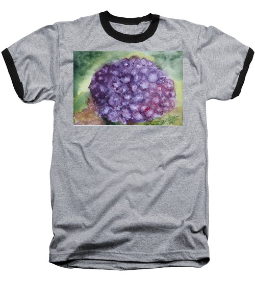 Baseball T-Shirt featuring the painting Purple Hydrangea by Donna Walsh