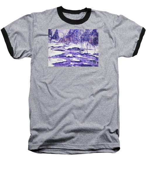 Baseball T-Shirt featuring the painting Purple Ice On Kaaterskill Creek by Ellen Levinson
