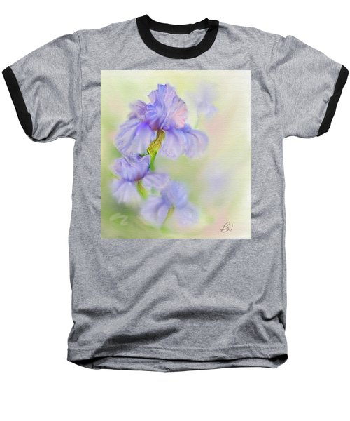 Baseball T-Shirt featuring the painting Purple Iris by Bonnie Willis