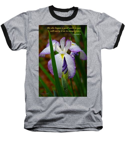 Purple Iris In Morning Dew Baseball T-Shirt by Marie Hicks