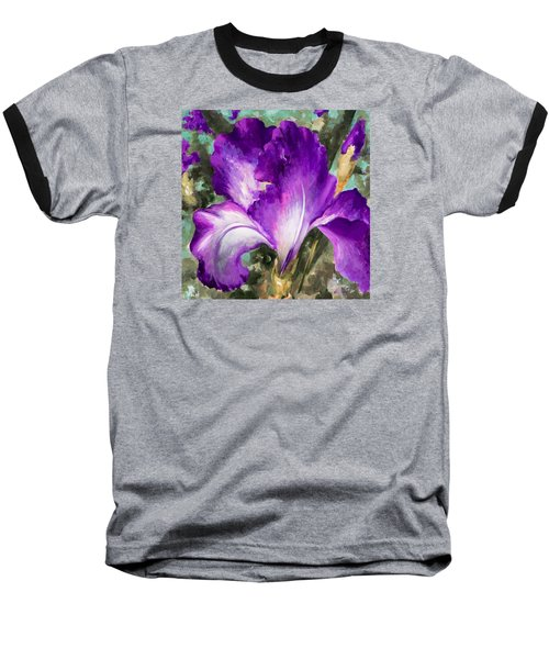 Purple Iris Baseball T-Shirt by Vali Irina Ciobanu