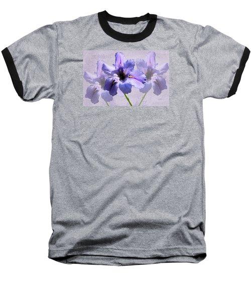 Purple Irises Baseball T-Shirt by Rosalie Scanlon