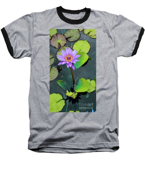Purple Lilly With Lilly Pads Baseball T-Shirt