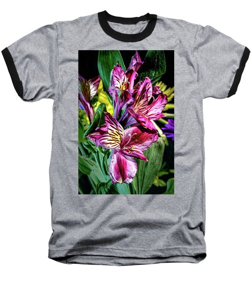 Purple Lily Baseball T-Shirt by Mark Dunton