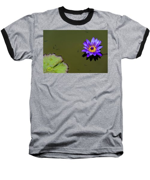 Purple Lily With Tiny Fish Baseball T-Shirt