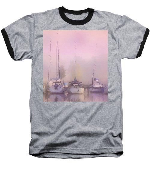 Baseball T-Shirt featuring the digital art Purple Marina Morning by Shelli Fitzpatrick