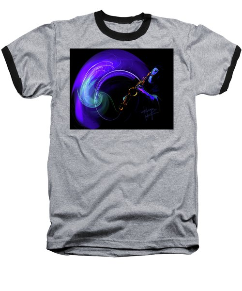 Baseball T-Shirt featuring the painting Purple Moon by DC Langer