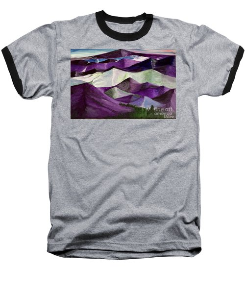 Baseball T-Shirt featuring the painting Purple Mountains Majesty by Kim Nelson