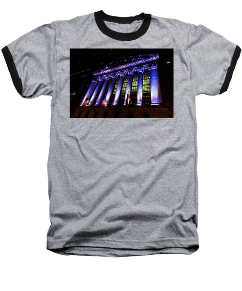 Purple New York Stock Exchange At Night - Impressions Of Manhattan Baseball T-Shirt
