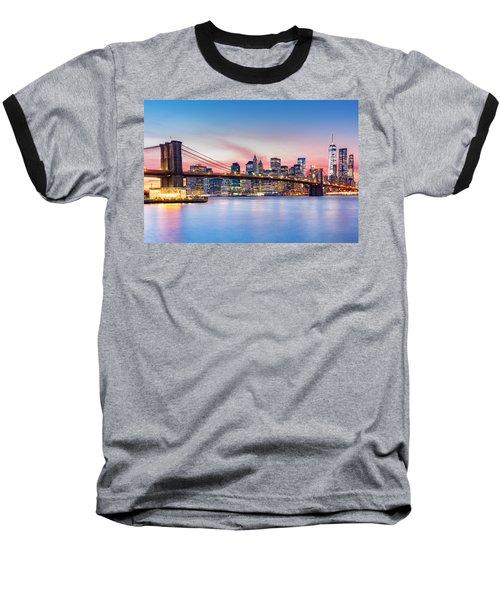 Purple Nyc Sunset Baseball T-Shirt
