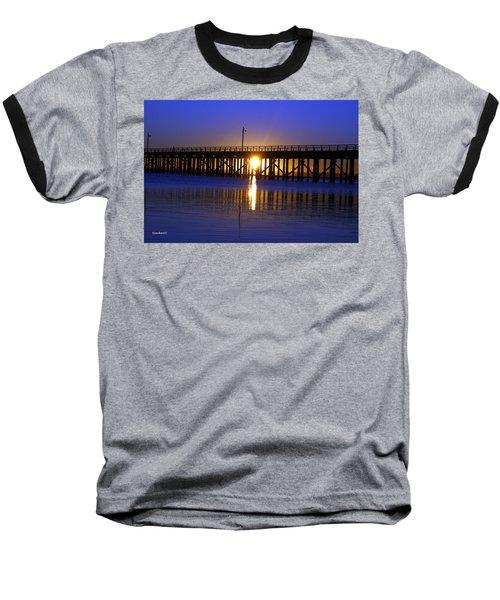 Purple Ocean Sunrise Baseball T-Shirt by Gary Crockett