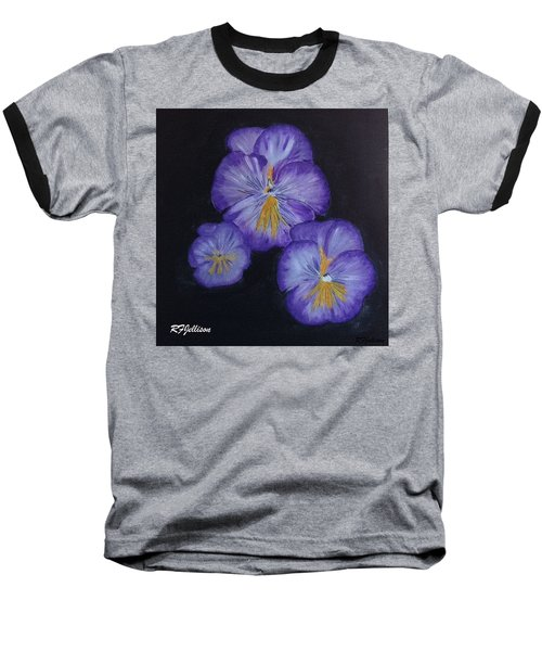 Baseball T-Shirt featuring the painting Purple Pansies by Rod Jellison