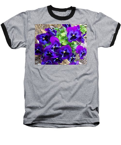 Baseball T-Shirt featuring the photograph Purple Pansies by Sandi OReilly