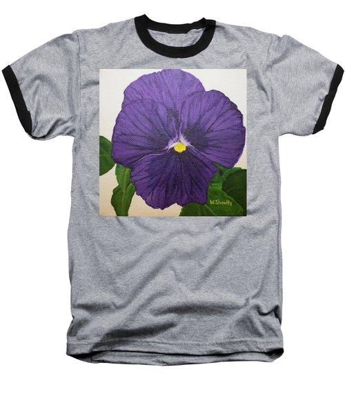 Baseball T-Shirt featuring the painting Purple Pansy by Wendy Shoults