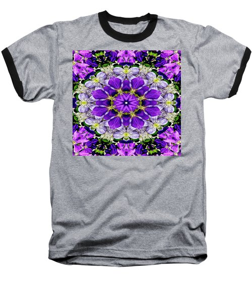 Purple Passion Floral Design Baseball T-Shirt by Carol F Austin