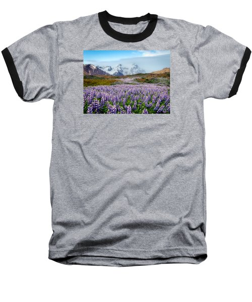 Purple Pathway Baseball T-Shirt by William Beuther