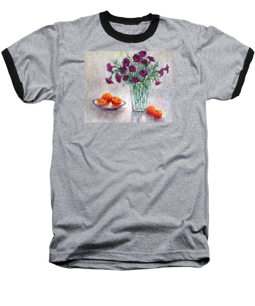 Purple Petunias And Oranges Baseball T-Shirt by Jill Musser