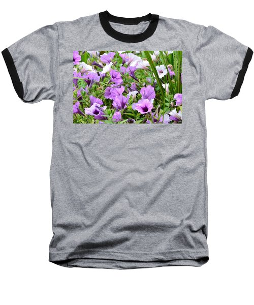 Purple Petunias Baseball T-Shirt