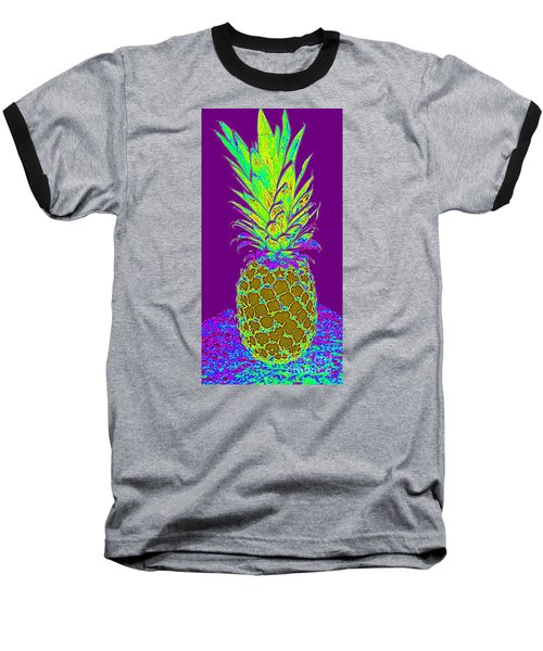 Purple Pineapple Baseball T-Shirt by Jeanne Forsythe