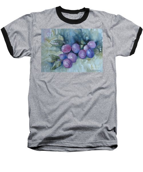 Purple Plums Baseball T-Shirt by Elena Oleniuc