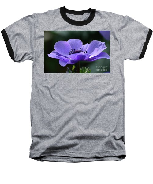 Purple Poppy Mona Lisa Baseball T-Shirt