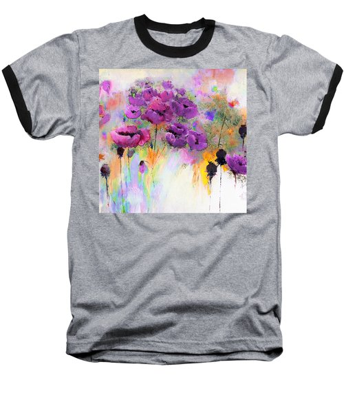 Purple Poppy Passion Painting Baseball T-Shirt by Lisa Kaiser