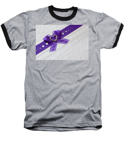 Purple Ribbon Heart Baseball T-Shirt